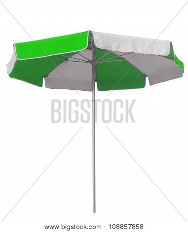 Beach Umbrella With Green And White Stripes