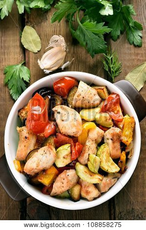 Roasted Vegetables With Chicken Meat In Pan