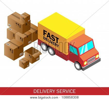 Isometric Delivery Car And Set Of Cardboard Boxes. Isometric Vector Illustration. Delivery Service C