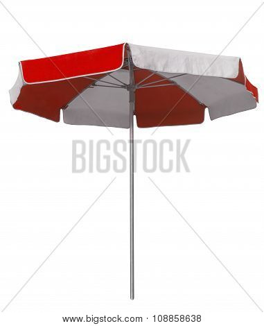 Beach Umbrella With Red And White Stripes