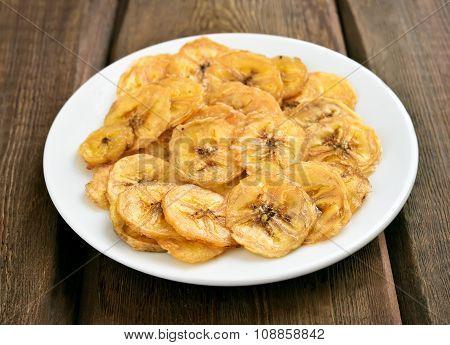 Banana Chips On White Plate