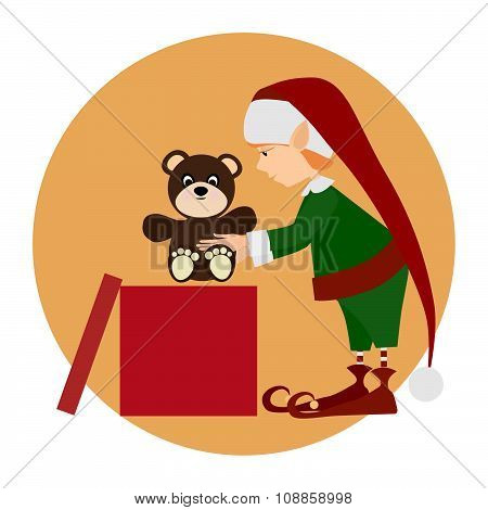 Christamas cute elf with bear toy for gift