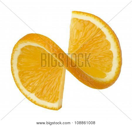 Orange Twisted Slice Isolated On White Background