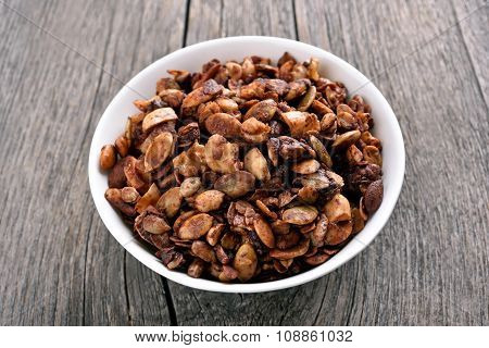 Granola In Bowl, Close Up View