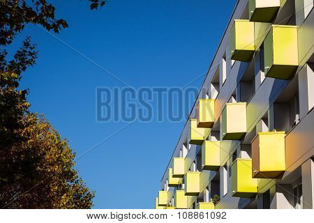 Colourful Balconies On Apartment Building