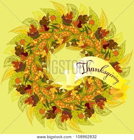 Autumn Wreath For Thanksgiving Day Design With Corn, Wheat, Ribbon