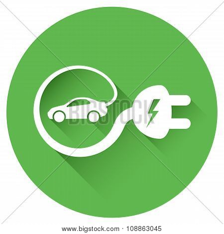 Green Rounded Electric Car Sign