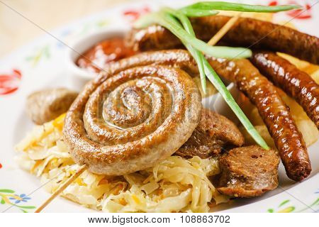 sausages on sauerkraut