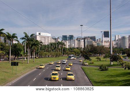 Avenue in Rio de Janeiro City