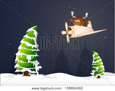 Cute reindeer flying on a plane over snow covered Xmas Trees for Merry Christmas celebration.