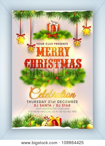 Creative Flyer, Banner or Pamphlet design with shiny ornaments for Merry Christmas celebration.