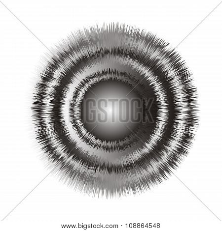 Geometric optical illusion 3d black and white circle on a white background. Vector illustration