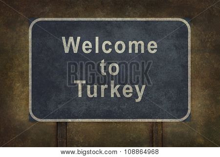 Welcome To Turkey Roadside Sign Illustration