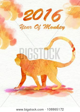 Creative Flyer, Banner or Pamphlet design with illustration of a Monkey on colorful splash background for Chinese New Year celebration.