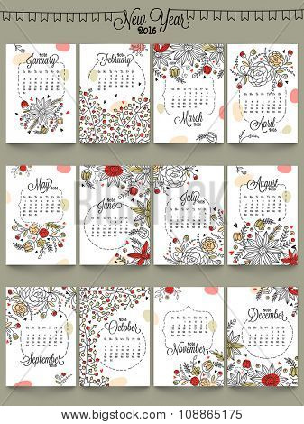 Creative Annual Calendar of 2016, decorated with beautiful floral design for Happy New Year celebration.
