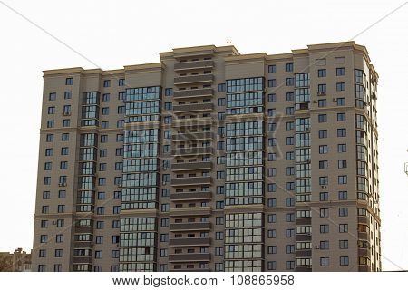 New high modern constructed city buildings over clear cloudless