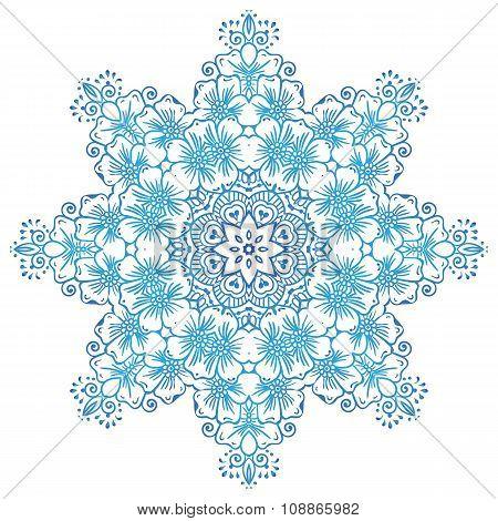 Circular floral ornament Mehndi Henna Tattoo Mandala, Yantra or indigo blue. Vintage vector banner f