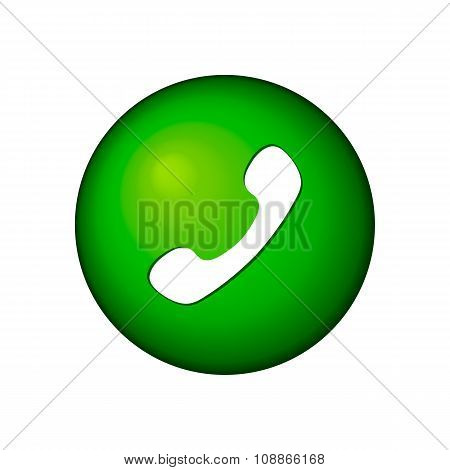 Green phone handset in speech bubble flat icon on a white background. Call center vector illustratio