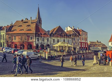 Crowded Small Square, Sibiu, Romania