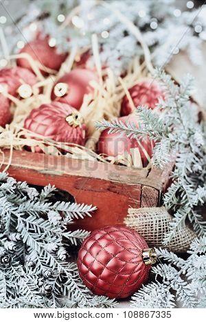 Box Of Glass Christmas Ornaments