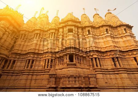 Ancient sandstone made Hindu Temple inside Golden fort of Jaisalmer, Rajasthan, India.