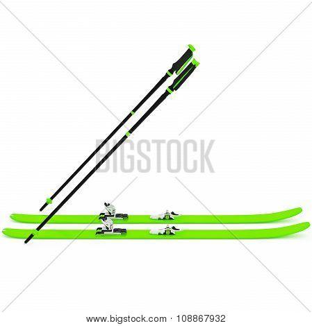 Sports skiing green, ski poles