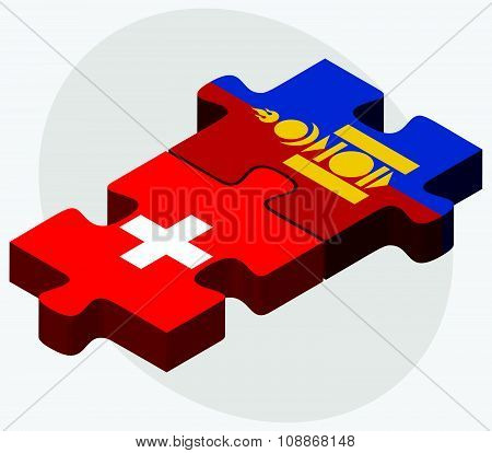 Switzerland And Mongolia Flags
