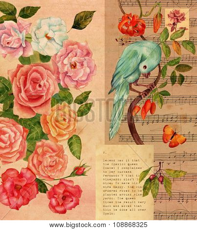 Vintage Collage With Sheet Music, Watercolor Roses, Butterfly And Bird