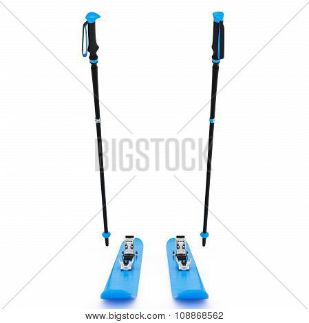 Skiing sports blue, ski poles, front view
