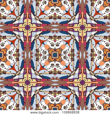 Seamless Fantastic Pattern. Ornamental Checkered Background. Abstract Vector Backdrop.