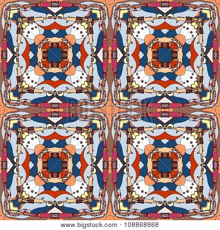 Seamless Fantastic Ornamental Pattern. Abstract Decorative Squares.