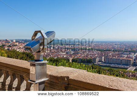 Telescope Overlooking For Lyon, France, Cityscape From Above