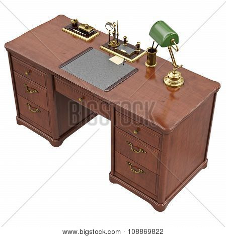 Office desk with lamp and stationery, top view