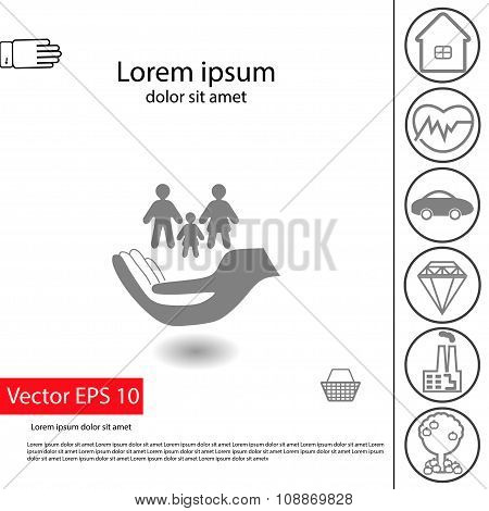 Vector Insurance Icons Set:  Big Family Insurance Icon And Small Others