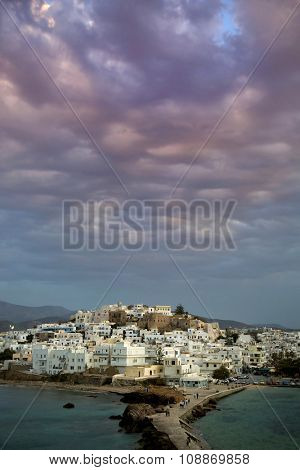 Naxos in the Cyclades, Greece at sunset