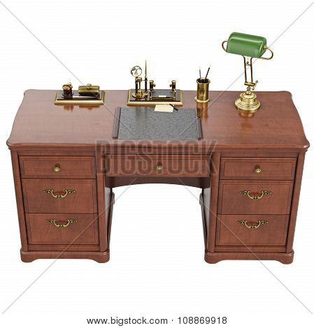 Desk written with lamp, top view