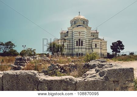 view of Vladimir Cathedral in Tauric Chersonesos, Sevastopol city, Crimea