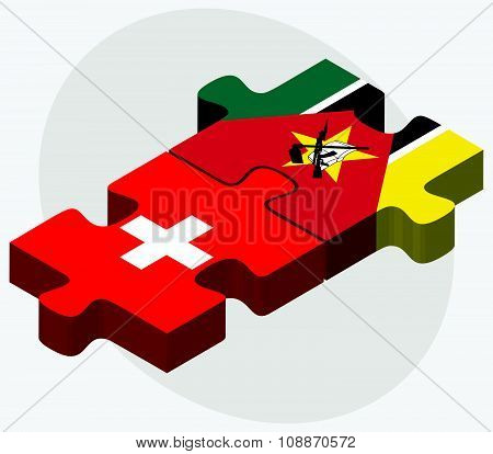 Switzerland And Mozambique Flags