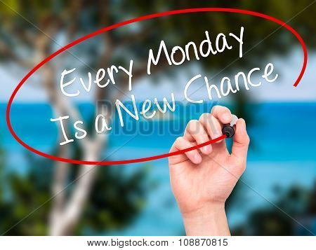 Man Hand writing Every Monday Is a New Chance with black marker on visual screen.