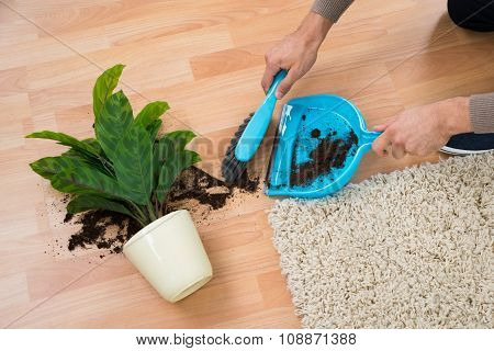Man Cleaning Mud Spilled From Potted Plant On Floor