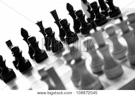black & white checkerboard with figures on white background