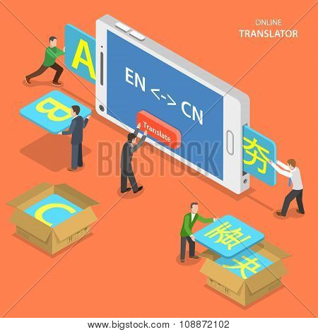 Online translator isometric flat vector concept.