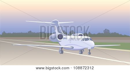 Jet Aircraft For Transporting Small Groups Of People After Landing (before Take-off).
