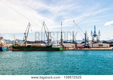 Ploce, Croatia - August 6, 2014: Port Infrastructure In Port Ploce, Largest Sea Port In Southern Cro
