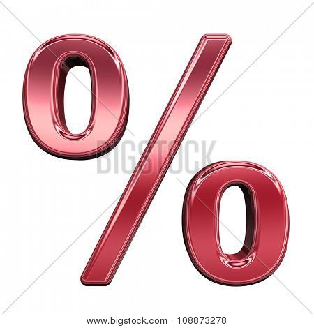 Percent sign from shiny red alphabet set, isolated on white. Computer generated 3D photo rendering.