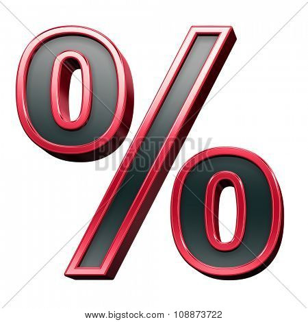 Percent sign from black with red shiny frame alphabet set, isolated on white. Computer generated 3D photo rendering.