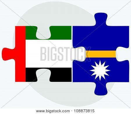 United Arab Emirates And Nauru Flags