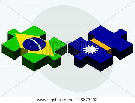Brazil And Nauru Flags