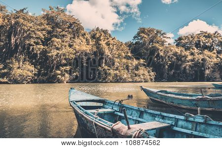 Blue Wooden Boats
