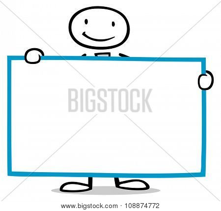 Cartoon business man holding empty blank white sign